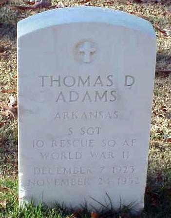 ADAMS (VETERAN WWII), THOMAS D - Pulaski County, Arkansas | THOMAS D ADAMS (VETERAN WWII) - Arkansas Gravestone Photos