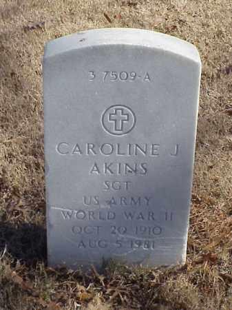 AKINS (VETERAN WWII), CAROLINE J - Pulaski County, Arkansas | CAROLINE J AKINS (VETERAN WWII) - Arkansas Gravestone Photos