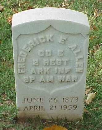 ALLEN (VETERAN SAW), FREDERICK E - Pulaski County, Arkansas | FREDERICK E ALLEN (VETERAN SAW) - Arkansas Gravestone Photos