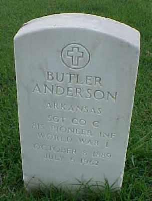 ANDERSON (VETERAN WWI), BUTLER - Pulaski County, Arkansas   BUTLER ANDERSON (VETERAN WWI) - Arkansas Gravestone Photos