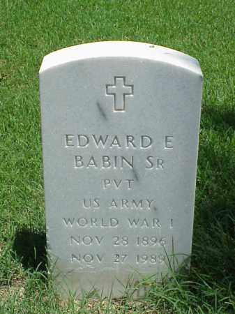 BABIN, SR (VETERAN WWI), EDWARD E - Pulaski County, Arkansas | EDWARD E BABIN, SR (VETERAN WWI) - Arkansas Gravestone Photos