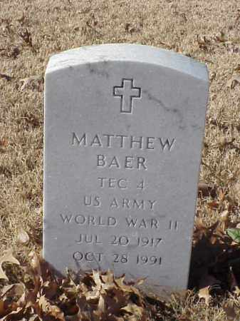 BAER (VETERAN WWII), MATTHEW - Pulaski County, Arkansas | MATTHEW BAER (VETERAN WWII) - Arkansas Gravestone Photos