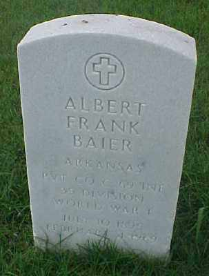 BAIER (VETERAN WWI), ALBERT FRANK - Pulaski County, Arkansas | ALBERT FRANK BAIER (VETERAN WWI) - Arkansas Gravestone Photos