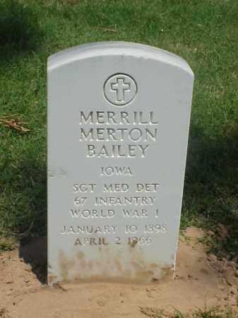 BAILEY (VETERAN WWI), MERRILL MERTON - Pulaski County, Arkansas   MERRILL MERTON BAILEY (VETERAN WWI) - Arkansas Gravestone Photos