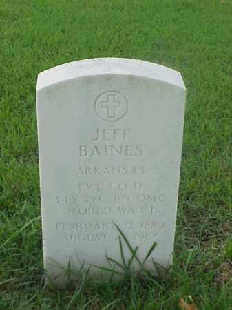 BAINES (VETERAN WWI), JEFF - Pulaski County, Arkansas   JEFF BAINES (VETERAN WWI) - Arkansas Gravestone Photos