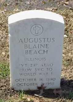 BEACH  (VETERAN WWI), AUGUSTUS BLAINE - Pulaski County, Arkansas | AUGUSTUS BLAINE BEACH  (VETERAN WWI) - Arkansas Gravestone Photos