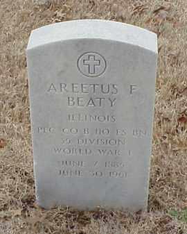 BEATY  (VETERAN WWI), AREETUS F - Pulaski County, Arkansas   AREETUS F BEATY  (VETERAN WWI) - Arkansas Gravestone Photos
