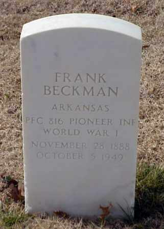BECKMAN (VETERAN WWI), FRANK - Pulaski County, Arkansas   FRANK BECKMAN (VETERAN WWI) - Arkansas Gravestone Photos