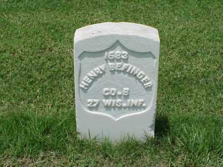 BEFINGER (VETERAN UNION), HENRY - Pulaski County, Arkansas   HENRY BEFINGER (VETERAN UNION) - Arkansas Gravestone Photos