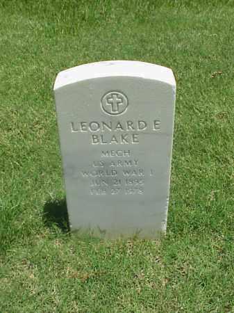 BLAKE (VETERAN WWI), LEONARD E - Pulaski County, Arkansas   LEONARD E BLAKE (VETERAN WWI) - Arkansas Gravestone Photos