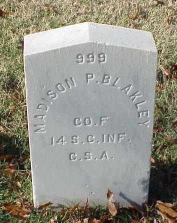 BLAKLEY (VETERAN CSA), MADISON P - Pulaski County, Arkansas | MADISON P BLAKLEY (VETERAN CSA) - Arkansas Gravestone Photos