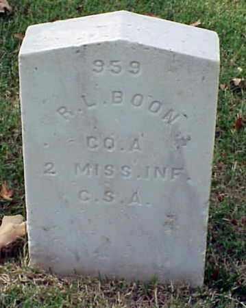 BOON (VETERAN CSA), R  L - Pulaski County, Arkansas   R  L BOON (VETERAN CSA) - Arkansas Gravestone Photos