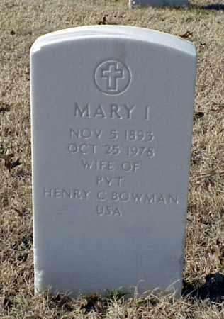 BOWMAN, MARY I - Pulaski County, Arkansas | MARY I BOWMAN - Arkansas Gravestone Photos
