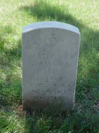 BOWMAN, SR (VETERAN WWI), ARTHUR E - Pulaski County, Arkansas | ARTHUR E BOWMAN, SR (VETERAN WWI) - Arkansas Gravestone Photos