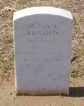 BRADEN  (VETERAN WWI), JOHN L - Pulaski County, Arkansas | JOHN L BRADEN  (VETERAN WWI) - Arkansas Gravestone Photos
