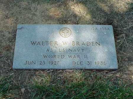 BRADEN (VETERAN WWII), WALTER W - Pulaski County, Arkansas | WALTER W BRADEN (VETERAN WWII) - Arkansas Gravestone Photos
