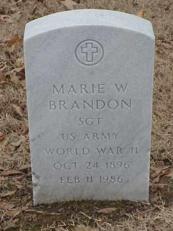 BRANDON (VETERAN WWII), MARIE W - Pulaski County, Arkansas | MARIE W BRANDON (VETERAN WWII) - Arkansas Gravestone Photos