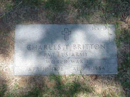 BRITTON (VETERAN WWI), CHARLES T - Pulaski County, Arkansas | CHARLES T BRITTON (VETERAN WWI) - Arkansas Gravestone Photos