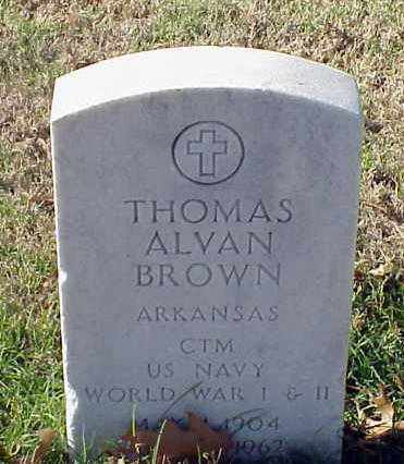 BROWN (VETERAN 2 WARS), THOMAS ALVAN - Pulaski County, Arkansas   THOMAS ALVAN BROWN (VETERAN 2 WARS) - Arkansas Gravestone Photos