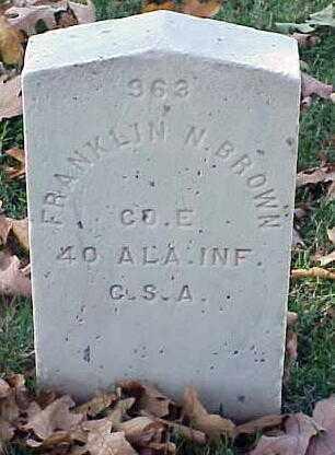 BROWN (VETERAN CSA), FRANKLIN N - Pulaski County, Arkansas   FRANKLIN N BROWN (VETERAN CSA) - Arkansas Gravestone Photos