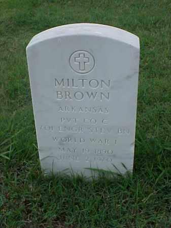 BROWN (VETERAN WWI), MILTON - Pulaski County, Arkansas | MILTON BROWN (VETERAN WWI) - Arkansas Gravestone Photos