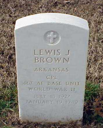 BROWN (VETERAN WWII), LEWIS J - Pulaski County, Arkansas | LEWIS J BROWN (VETERAN WWII) - Arkansas Gravestone Photos