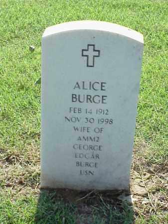 BURGE, ALICE - Pulaski County, Arkansas   ALICE BURGE - Arkansas Gravestone Photos