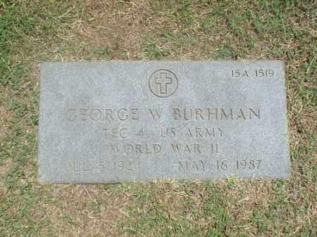 BURHMAN (VETERAN WWII), GEORGE W - Pulaski County, Arkansas | GEORGE W BURHMAN (VETERAN WWII) - Arkansas Gravestone Photos