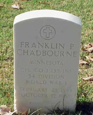 CHADBOURNE (VETERAN WWI), FRANKLIN P - Pulaski County, Arkansas | FRANKLIN P CHADBOURNE (VETERAN WWI) - Arkansas Gravestone Photos