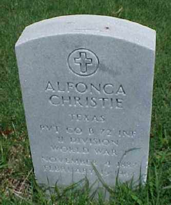 CHRISTIE (VETERAN WWI), ALFONCA - Pulaski County, Arkansas | ALFONCA CHRISTIE (VETERAN WWI) - Arkansas Gravestone Photos