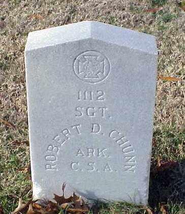 CHUNN (VETERAN CSA), ROBERT D - Pulaski County, Arkansas   ROBERT D CHUNN (VETERAN CSA) - Arkansas Gravestone Photos