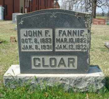 CLOAR, FANNIE - Pulaski County, Arkansas | FANNIE CLOAR - Arkansas Gravestone Photos