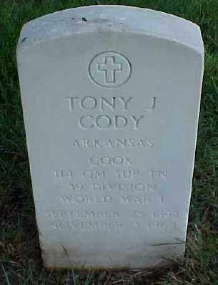 CODY (VETERAN WWI), TONY J - Pulaski County, Arkansas   TONY J CODY (VETERAN WWI) - Arkansas Gravestone Photos