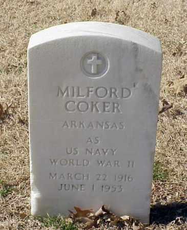COKER (VETERAN WWII), MILFORD - Pulaski County, Arkansas | MILFORD COKER (VETERAN WWII) - Arkansas Gravestone Photos