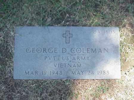 COLEMAN (VETERAN VIET), GEORGE D - Pulaski County, Arkansas | GEORGE D COLEMAN (VETERAN VIET) - Arkansas Gravestone Photos