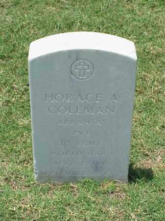 COLEMAN (VETERAN WWI), HORACE A - Pulaski County, Arkansas | HORACE A COLEMAN (VETERAN WWI) - Arkansas Gravestone Photos