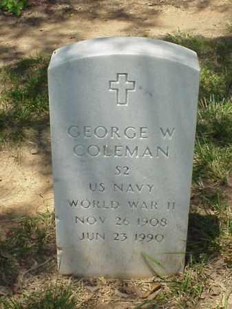 COLEMAN (VETERAN WWII), GEORGE W - Pulaski County, Arkansas | GEORGE W COLEMAN (VETERAN WWII) - Arkansas Gravestone Photos