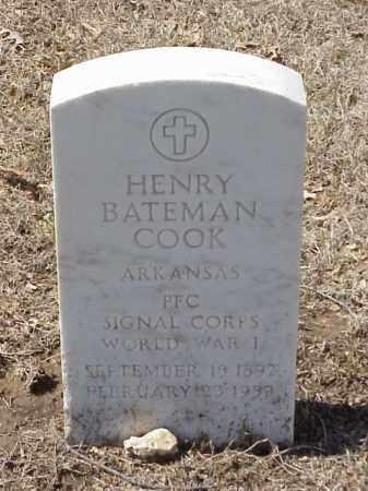 COOK  (VETERAN WWI), HENRY BATEMAN - Pulaski County, Arkansas   HENRY BATEMAN COOK  (VETERAN WWI) - Arkansas Gravestone Photos