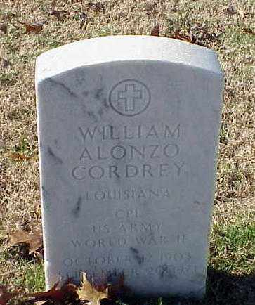 CORDREY (VETERAN WWII), WILLIAM ALONZO - Pulaski County, Arkansas | WILLIAM ALONZO CORDREY (VETERAN WWII) - Arkansas Gravestone Photos