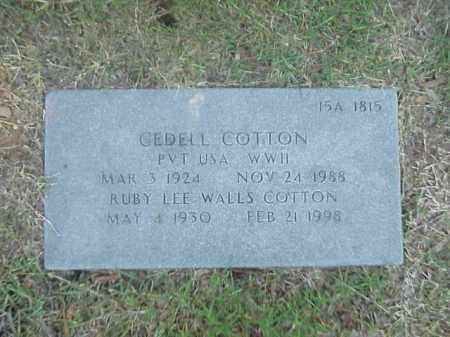 COTTON (VETERAN WWII), GEDELL - Pulaski County, Arkansas | GEDELL COTTON (VETERAN WWII) - Arkansas Gravestone Photos