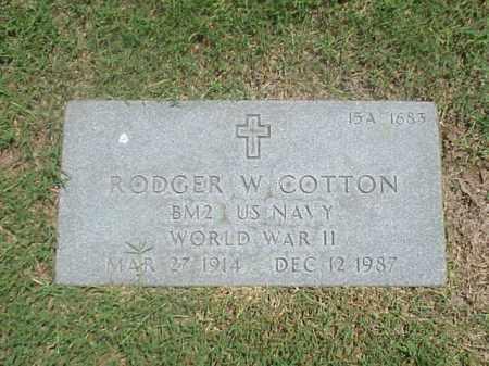 COTTON (VETERAN WWII), RODGER W - Pulaski County, Arkansas | RODGER W COTTON (VETERAN WWII) - Arkansas Gravestone Photos