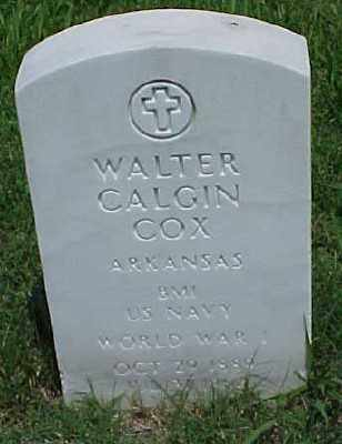 COX (VETERAN WWI), WALTER CALGIN - Pulaski County, Arkansas   WALTER CALGIN COX (VETERAN WWI) - Arkansas Gravestone Photos