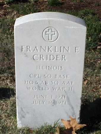 CRIDER (VETERAN WWII), FRANKLIN E - Pulaski County, Arkansas   FRANKLIN E CRIDER (VETERAN WWII) - Arkansas Gravestone Photos