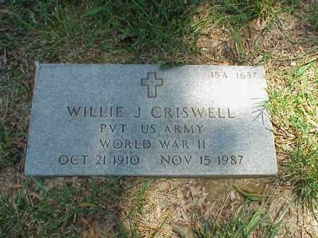 CRISWELL (VETERAN WWII), WILLIE J - Pulaski County, Arkansas | WILLIE J CRISWELL (VETERAN WWII) - Arkansas Gravestone Photos