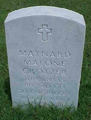 CROTZER (VETERAN WWI), MAYNARD MALONE - Pulaski County, Arkansas   MAYNARD MALONE CROTZER (VETERAN WWI) - Arkansas Gravestone Photos