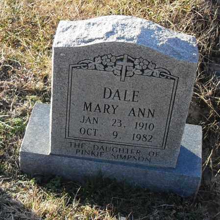 DALE, MARY ANN - Pulaski County, Arkansas | MARY ANN DALE - Arkansas Gravestone Photos