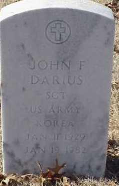 DARIUS  (VETERAN KOR), JOHN F - Pulaski County, Arkansas | JOHN F DARIUS  (VETERAN KOR) - Arkansas Gravestone Photos