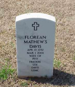 MATHEW'S DAVIS, FLOREAN - Pulaski County, Arkansas | FLOREAN MATHEW'S DAVIS - Arkansas Gravestone Photos