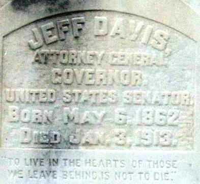 DAVIS (GOVERNOR), JEFF (CLOSEUP) - Pulaski County, Arkansas   JEFF (CLOSEUP) DAVIS (GOVERNOR) - Arkansas Gravestone Photos
