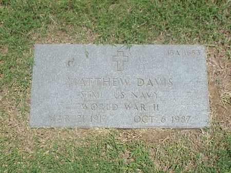 DAVIS (VETERAN WWII), MATTHEW - Pulaski County, Arkansas | MATTHEW DAVIS (VETERAN WWII) - Arkansas Gravestone Photos